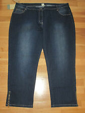 cotton traders blue stretch jeans crop zip leg size 12 leg 28 brand new & tags