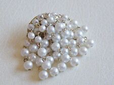 Delightful & Effective Faux Pearl Waterfall Brooch circa 1960's
