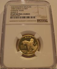 China 1989 Gold 100 Yuan NGC PF-69UC Wildlife - Chinese Tiger