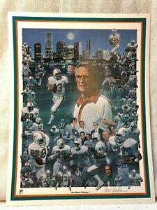 Miami Dolphins Football History Paul Miller Lithograph Don Shula Dan Marino