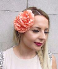 Double Peach Coral Camellia Flower Hair Clip Rockabilly 1950s Rose Vintage 2832