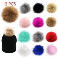12Pcs/lot DIY Fluffy Rabbit Fox Faux Fur Pompom Fur Pom Poms Ball For Hat Bags