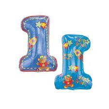 Palloncino Pallone Numero Gigante Mylar Foil Blu con Orsetto Numero 1 OFFERTA!