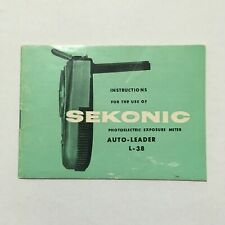 INSTRUCTIONS MANUAL FOR SEKONIC AUTO -LEADER L-38 EXPOSURE LIGHT METER