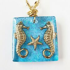 Necklace Handmade Resin Sea Horses Beach Clear Ocean Pendant Blue Goldfilled