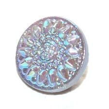 1 petit bouton ancien en verre gris rosace irisé multicolore 10mm button