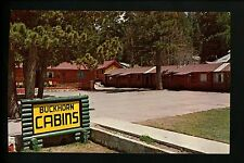 New Mexico NM postcard Buckhorn Cabins, Cloudcroft Log cabin street view Vintage