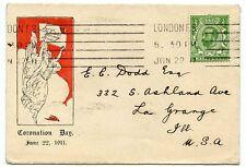 "Rare 1911 ½d green ""Downey Head"" Coronation Day FDC to USA"
