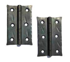 """2 Hand Forged 3"""" Butt Door Hinges Antique Cabinet Black Wrought Iron Made Wax"""