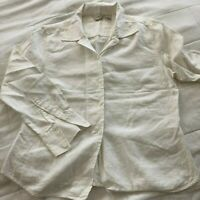 J.JILLWomens 100% Linen Top Blouse BUTTON UP Long Sleeves WHITE Size  MED