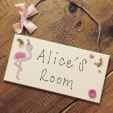 Personalised Flamingo Name Plaque Door Nursery Room Bedroom Sign Gift Baby Girl