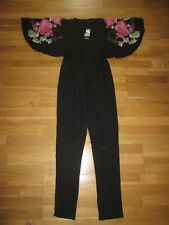 boohoo boutique black mix embroidered jumpsuit playsuit size 8 brand new tags