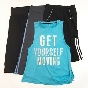 4-Piece Activewear Fitness Size 14 Bundle Adidas Gym Crop Leggings Tshirt Top