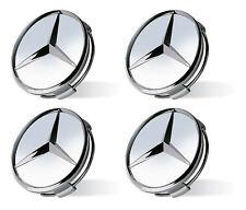 4x Genuine Mercedes-Benz Silver Chrome Alloy Wheel Hub Centre Caps B66470207 NEW