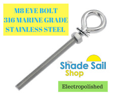M8 8mm 130mm Thread / 166mm Overall Eye Bolt - CLEARANCE - END OF STOCK