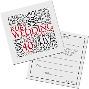 Ruby 40th Wedding Anniversary Invite Invitation 10 pack UK FREE POST
