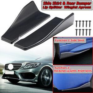 2x Carbon Look 14inch Universal Car Rear Bumper Lip Splitter Spoiler Side Skirts