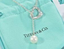 """Tiffany & Co Silver Elsa Peretti Open Heart Pearl Lariat 19"""" Necklace +Pouch"""
