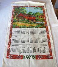 Vintage Kitchen Calendar Towel 1976 Covered Red Bridge NEW 16 1/2 x 28