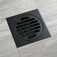 Black Waste Drainer Bathroom Square Shower Floor Drain Trap With Hair Strainer