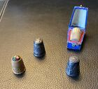 Thimbles%2C+antique+or+vintage%2C+sterling+and+brass%2C+thimble+box