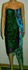 Bcbg Max Azria Runway Strapless Asymmetrical Draped Blue Combo Silk Dress 6 NWT
