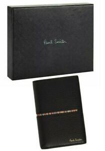 ⚡1 LEFT⚡ PAUL SMITH Black Stripe Leather Bifold Card Holder Wallet *NEW W/TAGS*