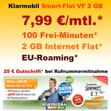 Simkarte Handyvertrag mit 100 Freiminuten Internet Flat 2GB Vertrag ohne Handy