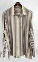 Tommy Bahama Mens XL Beige Brown striped Long Sleeve Button Front V-82
