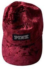 VICTORIA SECRET PINK BASEBALL CAP HAT VELVET RED NWT