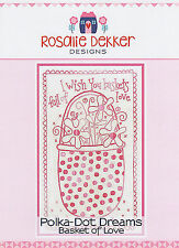 Polka Dot Dreams Basket of Love RQ602 - Pre-printed Embroidery Linen