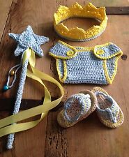 Disfraz Crochet Conjunto  Bebe 0/3 Meses Recién Nacido Atrezo Fotografía Nuevo