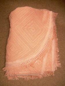 "Vintage bedspread, peach, fringed, shaped  Looks Knitted/crochet.92""w x 96""L"