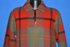 vintage 50s Woolrich 6291 Pull Over Red Black Plaid Winter Shirt Jacket Large L