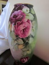 Antique Lenox Belleek Hand Painted Roses Vase 14.5""