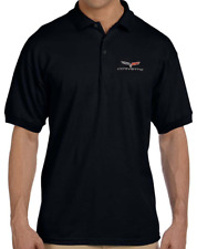 Corvette 2005-2013 C6 EMBROIDERED LOGO golf polo shirt Black XL