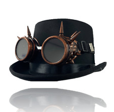 Steampunk Vintage Black Top Hat & Bronze Goggles Fancy Dress Costume Accessory