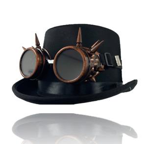 Steampunk Vintage Black Top Hat & Bronze Goggles Fancy Dress Costume Accessory
