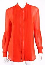 ROBERTO CAVALLI $1,295 Orange Silk Plisse Pleated-Bib Blouse 40