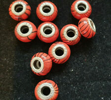 10 RED, BLACK STRIPE BEADS, WITH CORES