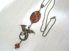 "DRAGONS EGG CRAB AGATE Gemstone HEALING Bronze 18"" DROP Necklace GOT Khaleesi"