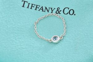 Tiffany & Co Silver Elsa Peretti Aquamarine Color By The Yard Ring Size 6 +Pouch