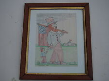 JACK SAVITSKY ORIGINAL FOLK ART PASTEL DRAWING MEMORIAL DAY 1991 PATRIOTIC UNCLE