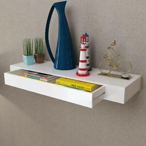 Floating MDF Wall Display Shelf with 1 Drawer White CD DVD Books Awards Storage