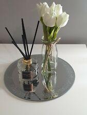 DECORATIVE GLASS MIRROR CANDLE PLATE TRAY HOME DECOR WEDDING 25CM