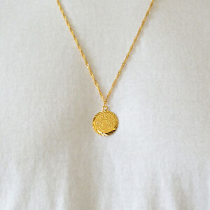 "Babylonian Persian Coin Necklace Pendant Men/Women Unisex 24k Gold Plated - 5/8"""