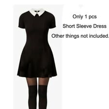 Women Black Short Sleeve Mini Dress Cosplay Fancy Dress Halloween Costume Gothic