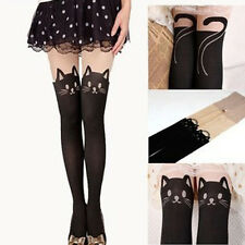 Women's Opaque Socks Cute Cat Over Knee High Pantyhose Tattoo Stockings Tights