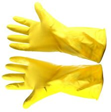 Yellow Rubber Work Gloves Natural Latex Washing Up Domestic Cleaning Household