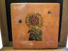 Hand Stamped Sunflower Tile